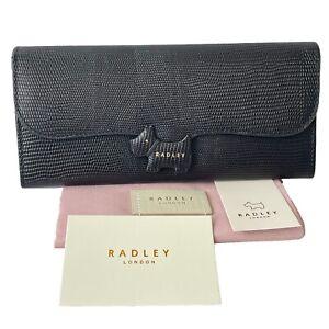 Radley Dog Large Black Leather Faux Croc Crest Purse Cards Wallet