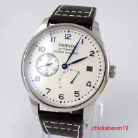 43mm Parnis Weiß Zifferblatt Gangreserve Date Automatikwerk Herrenuhr mens watch