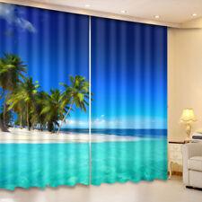 2 Panels Ocean Theme Blue Seascape Darkening Insulated Blockout Window Curtain
