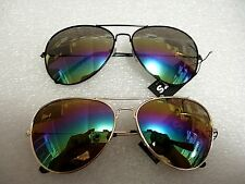 2 PAIR MIRROR AVIATOR SUNGLASSES MULTI COLOR ONE GOLD FRAME ONE BLACK FRAME