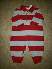 SIMPLY BASIC Red Gray Rugby Striped One Piece Romper Boys Size 3-6 months