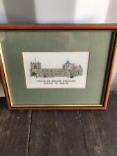 Vintage Framed Embroidery Sampler, Bangor Cathedral , Needlework, Welsh