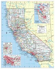 Cool Owl Maps California State Wall Map Poster - Rolled Laminated 24