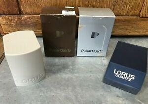 3 EMPTY Mens Wrist Watch Boxes Pulsar Quartz Lorus Plastic Case Vtg Replacement