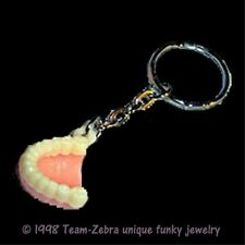 Vintage Retro FALSE TEETH NOVELTY KEYCHAIN-Gag Gift Denture Tooth Dental Charm