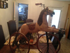 Figural Horse Tricycle wood & iron, child's horse tricycle wood & Iron wheels