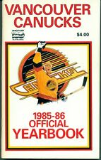 1985-86 VANCOUVER CANUCKS HOCKEY YEARBOOK GUIDE W/Cam Neely Richard Brodeur
