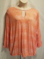 New MICHAEL KORS Women's Plus Size 3X Long Sleeve Orange White Print Top Blouse