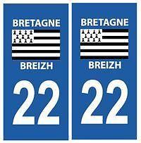 stickers autocollants plaques immatriculation auto Département Côtes d'Armor 22