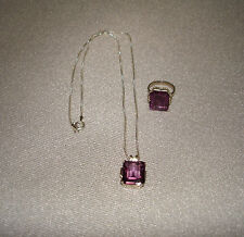 Sterling Silver Simulated Amethyst Ring Size 5 & Necklace Set Made in Italy