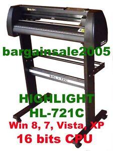 HIGHLIGHT HL-721C-1 VINYL CUTTER PLOTTER 4MB CORELDRAW Win10 /8/7 Red Eye