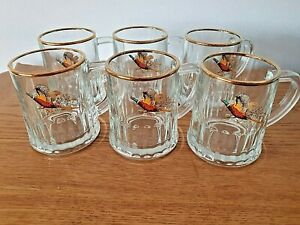 Set of 6 Small Vintage Glass Tankards, Pheasant Design Great Condition
