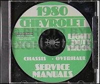 1980 Chevy Truck Shop Manual CD Pickup Blazer Suburban Van C10-C30 K10-K30