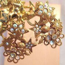 Vintage Kirks Folly Earrings Aurora Borealis & Bezel Set Crystals Stars RARE 9C
