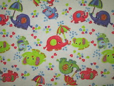ELEPHANTS PARADE BABY ELEPHANT UMBRELLAS COLORFUL COTTON FLANNEL FABRIC BTHY
