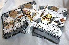 Kay Dee Designs Happy Cat Kitchen 4 pc. Set 2 Terry Towels Oven Mitt, Potholder