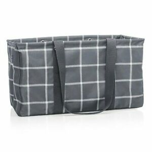 Thirty One LARGE Utility Tote in Windowpane Plaid
