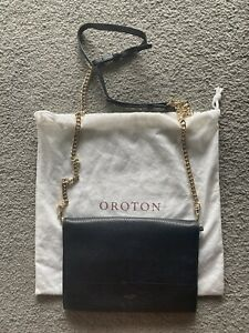 Original RRP$249 OROTON Avalon Fold Over Chain Crossbody Bag. Black Leather