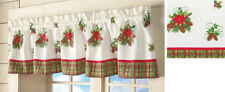 """Christmas Poinsettia Floral Window Treatment Valance Curtain Polyester 71""""L NEW"""