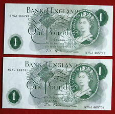 Uncirculated (NM) PAIR of J S Fforde £1 Notes - N75J 465728 & N75J 465731