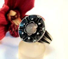 Silber Ring 900 Silber Handarbeit Rosenquarz Fingerring / bz 253
