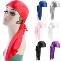 Unisex Men Women Bandana Durag Headwear Soft Silk Pirate Cap Wrap Fashion Hat