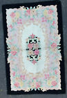 """Vintage Hooked Rug, 65"""" x 42"""", Black Green Pink,  Good Condition"""