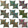 Kantha Paisley Cushion Cover  Indian Decorative Cotton Embroidered Pillows Pair