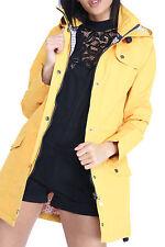 Womens Lightweight Jacket Hooded Plain Waterproof Rain Mac Coat Mustard Uk16