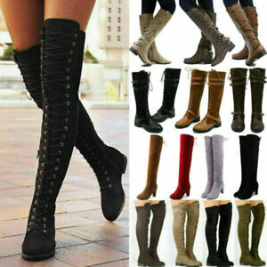 Womens Thigh High Riding Boots Over The Knee Casual Comfy Block Low Heel Shoes**