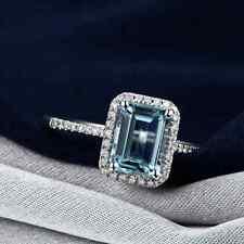 Noble 2.04ct 100% Natural Aquamarine Diamond 14K Solid White Gold Gorgeous Ring