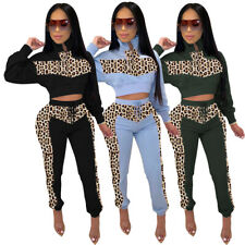 NEW Lovely Women's Leopard Patchwork Long Sleeves Zipper Casual Long Outfits2pcs