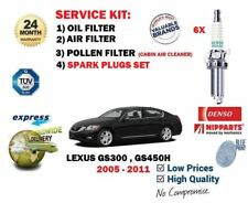 FOR LEXUS GS300 GS450H 2005->6 SPARK PLUGS + OIL AIR POLLEN 3 FILTER SERVICE KIT