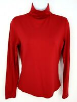 Express Long Sleeve Shirt Womens Size M Red Turtle Neck Stretch Nylon Spandex