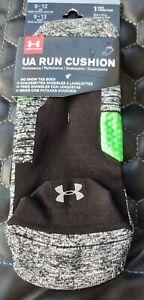 UNDER ARMOUR  UA Run Cushion Green / Black No Show Tab Socks Mens L Fits 8-12