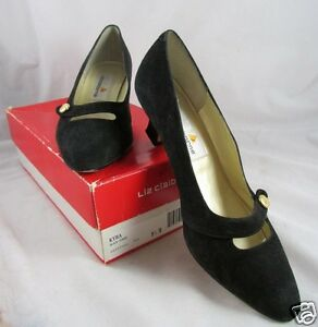 Liz Claiborne KYRA Black Pointed Toe Leather Shoes 8 1/2 Medium Kitten Heels Box