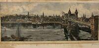 Antike original Radierung signiert v. Behrens - Bonn a. Rhein - alte Rheinbrücke