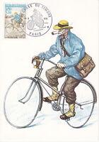 Carte Postale 1er jour CEF 1972 Journée du timbre Le facteur à Bicyclette Paris