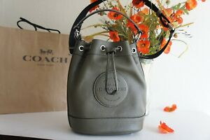 NWT Coach C4100 Dempsey Drawstring Bucket Bag In Pebble Leather Surplus $378