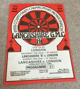 1986 Darts programme Lancashire v London, Keith Deller & Chris Lazarenko etc