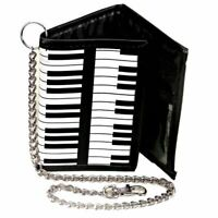 Piano Keys Keyboard Tri-Fold Wallet with Chain - Retro Music Gifts