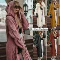 Long Knitted Cardigan Chunky Hooded Open Front Sweater Coat Winter UK Womens