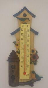 Bird House Garden Themed Resin Thermometer Indoor / Outdoor