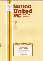 Sutton United v Walthamstow Avenue 1978/9 (7 Nov) Hitachi Cup