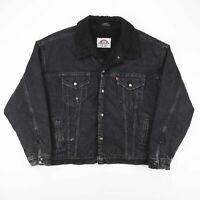 Vintage LEVI'S Made In USA Black Faded Sherpa Lined Denim Jacket Men's Size XL
