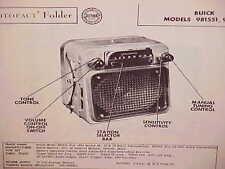 1954 1955 BUICK SKYLARK ROADMASTER SUPER CONVERTIBLE AM RADIO SERVICE MANUAL