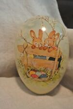 Vintage Paper Mache Easter Egg Candy Container Made In Germany Large 7.5""