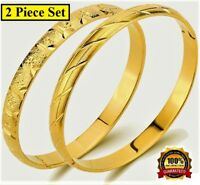 2 Pc Set 18k Yellow Gold Bracelets Bangle Womens Italian Opening GiftPkg D41534