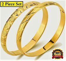 18k Yellow Gold Bracelets Bangle 2 PC Set Womens Elegant Opening Giftpkg D41534