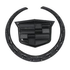 6 inch Black CADILLAC Front Grille Hood Emblem Ornament Badge Logo Symbol Gloss